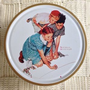Norman Rockwell Marble Champion Cookie Tin Vintage